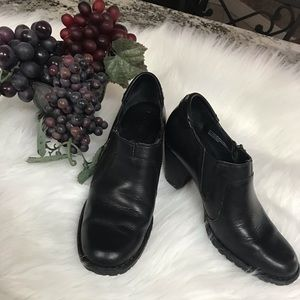Born Black Leather Heeled Loafers